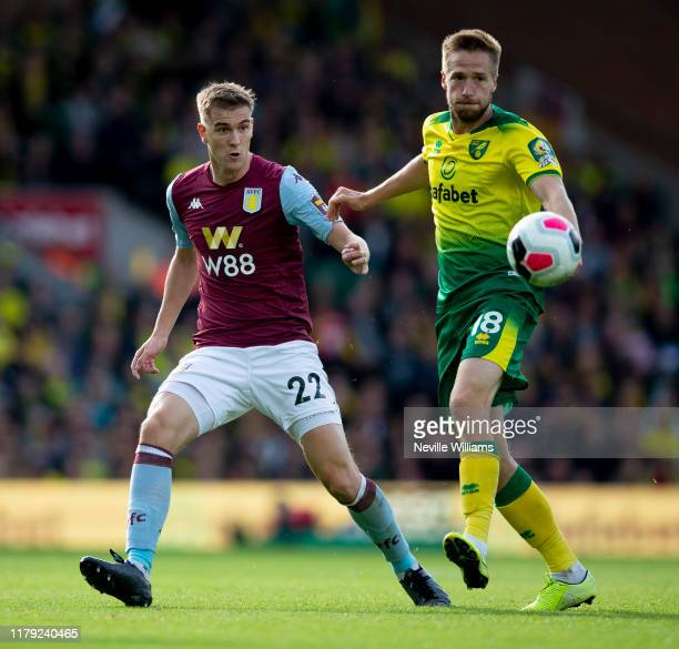 Bjorn Engels of Aston Villa in action during the Premier League match between Norwich City and Aston Villa at Carrow Road on October 05, 2019 in...