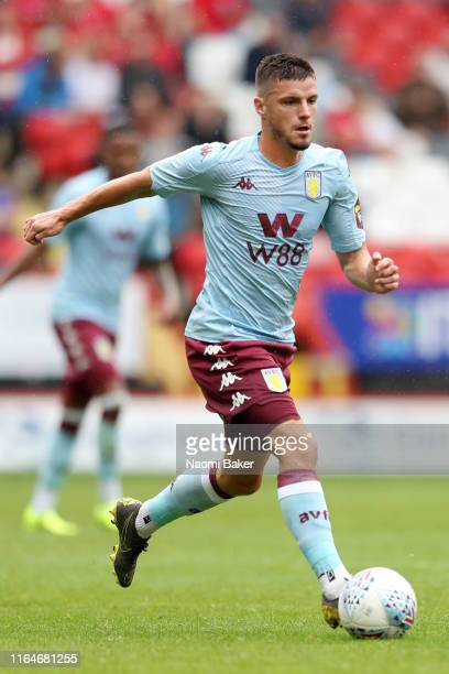 Bjorn Engels of Aston Villa in action during the Pre-Season Friendly match between Charlton and Aston Villa at The Valley on July 27, 2019 in London,...