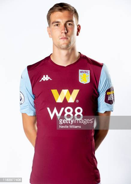 Bjorn Engels of Aston Villa poses for a portrait at Bodymoor Heath training ground on October 28, 2019 in Birmingham, England.