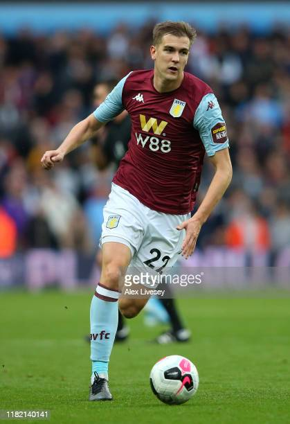 Bjorn Engels of Aston Villa runs with the ball during the Premier League match between Aston Villa and Brighton & Hove Albion at Villa Park on...