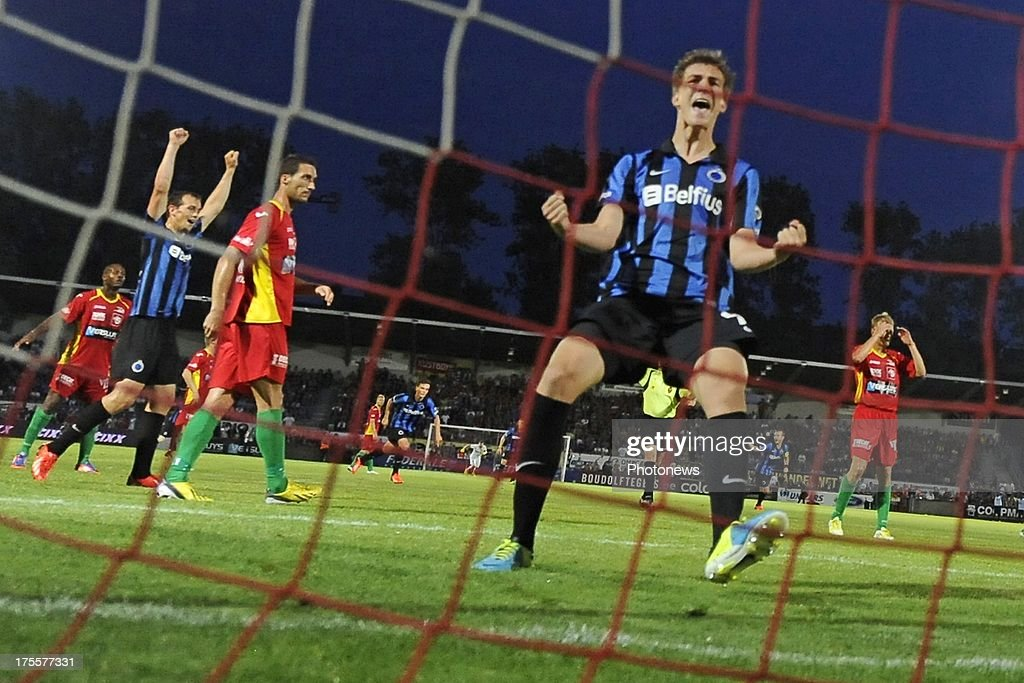 Bjorn Engels of Club Brugge celebrates during the Jupiler Pro League match between KV Oostende and Club Brugge KV on August 4, 2013 in Oostende, Belgium. (Photo by Peter De Voecht/Photonews