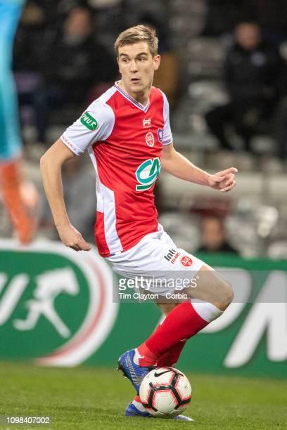 January 22: Bjorn Engels of Stade de Reims in action during the Toulouse FC V Stade de Reims, Coupe de France match at the Stadium Municipal de...