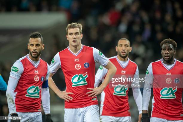 January 22: Bjorn Engels of Stade de Reims prepares for a corner with team mates during the Toulouse FC V Stade de Reims, Coupe de France match at...