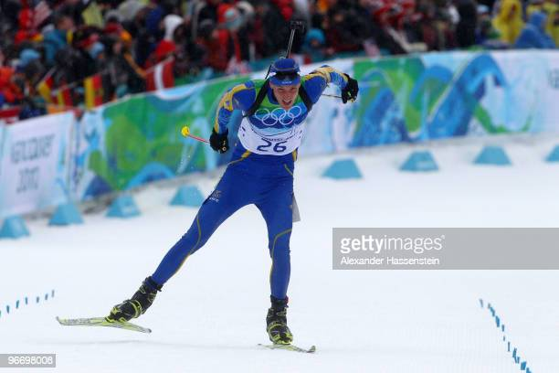 Bjorn Ferry of Sweden competes in the men's biathlon 10 km sprint final on day 3 of the 2010 Winter Olympics at Whistler Olympic Park Biathlon...