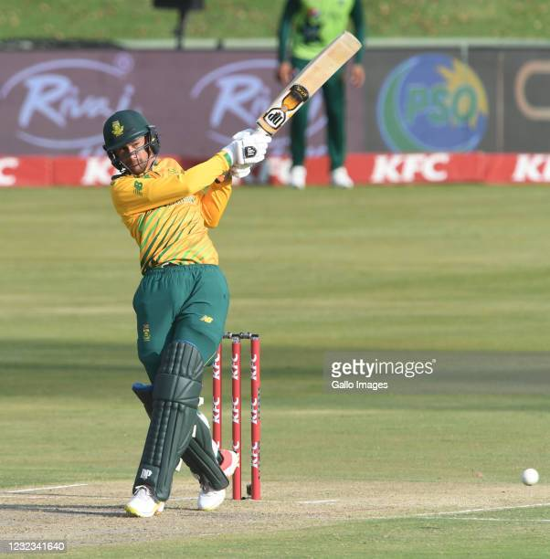 Bjorn Fortuin of South Africa during the 4th KFC T20 International match between South Africa and Pakistan at SuperSport Park on April 16, 2021 in...