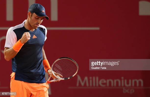 Bjorn Fratangelo celebrates after winning a point during the match between Bjorn Fratangelo from USA and Taro Daniel from the United States the for...