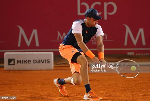 Bjorn Fratangelo in action during the match between Bjorn Fratangelo from USA and Taro Daniel from the United States the for Millennium Estoril Open...