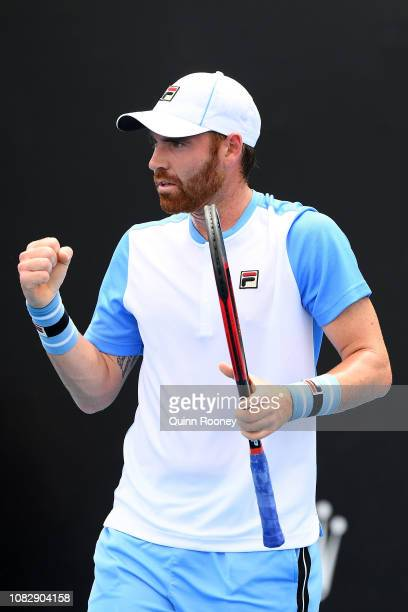Bjorn Fratangelo of the United States celebrates a point in his first round match against Gilles Simon of France during day two of the 2019...