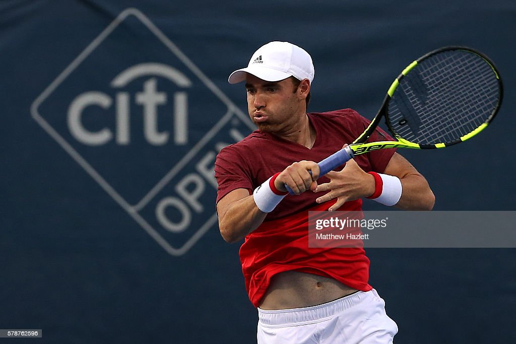 Bjorn Fratangelo of the United States of America returns a shot to Sam Querrey of the United States of America during day 2 of the Citi Open at Rock Creek Tennis Center on July 19, 2016 in Washington, DC.
