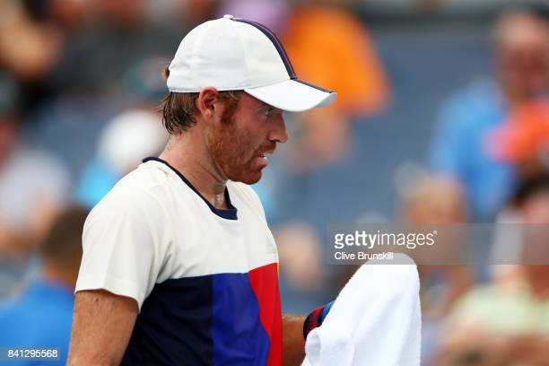 Bjorn Fratangelo of the United States reacts against Adrian Mannarino of France during their second round Men's Singles match on Day Four of the 2017...