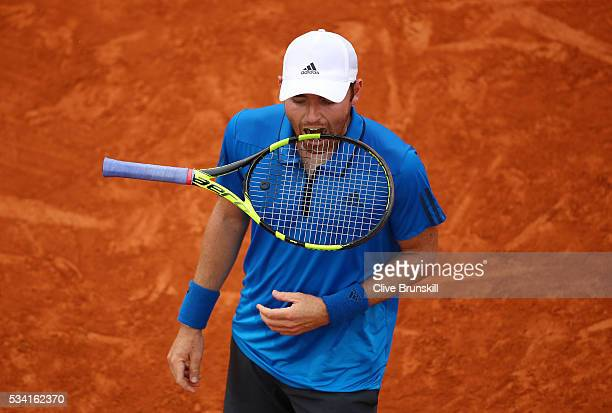Bjorn Fratangelo of the United States reacts during the Men's Singles second round match against Richard Gasquet of France on day four of the 2016...