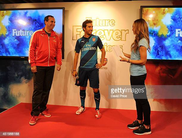 Bjorn Gulden Puma CEO on stage with Mathieu Flamini and presenter Kate Abdo in the Puma Store on Carnaby Street to Launch the new Arsenal kits on...