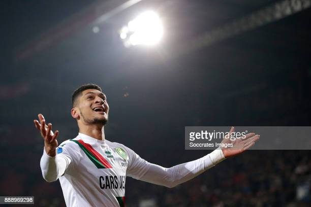 Bjorn Johnsen of ADO Den Haag celebrates 1-2 during the Dutch Eredivisie match between Fc Twente v ADO Den Haag at the De Grolsch Veste on December...