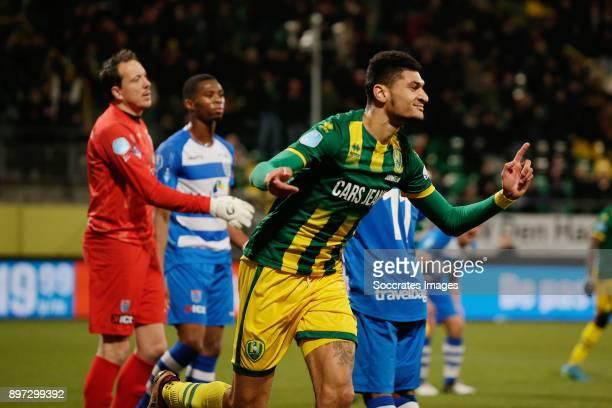 Bjorn Johnsen of ADO Den Haag celebrates 2-0 during the Dutch Eredivisie match between ADO Den Haag v PEC Zwolle at the Cars Jeans Stadium on...