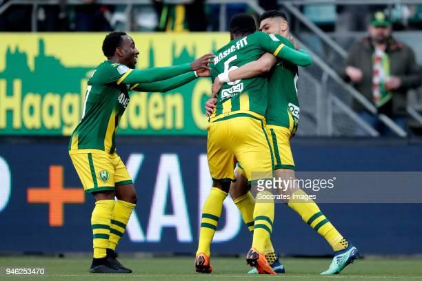 Bjorn Johnsen of ADO Den Haag celebrates 21 with Elson Hooi of ADO Den Haag Wilfried Kanon of ADO Den Haag during the Dutch Eredivisie match between...