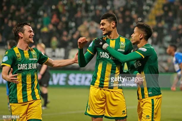 Bjorn Johnsen of ADO Den Haag celebrates 4-0 with Erik Falkenburg of ADO Den Haag, Sheraldo Becker of ADO Den Haag during the Dutch Eredivisie match...