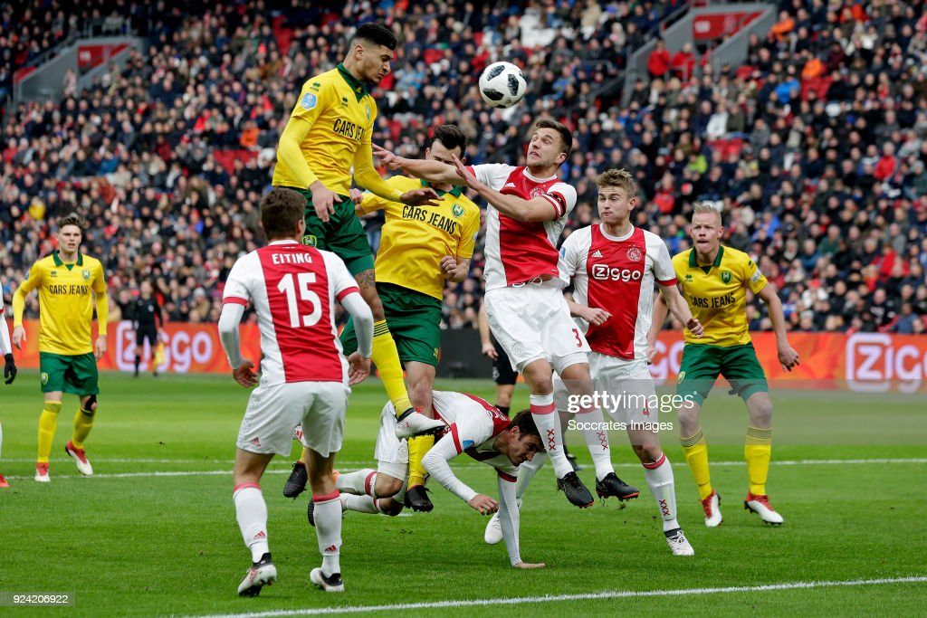 Bjorn Johnsen of ADO Den Haag, Erik Falkenburg of ADO Den Haag, Joel Veltman of Ajax during the Dutch Eredivisie match between Ajax v ADO Den Haag at the Johan Cruijff Arena on February 25, 2018 in Amsterdam Netherlands