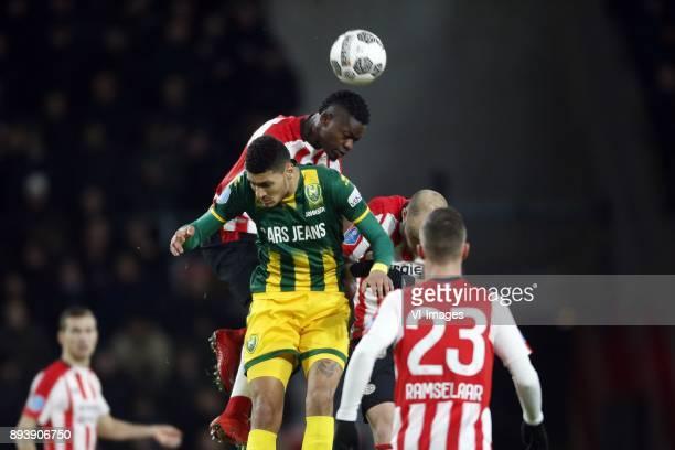 , Bjorn Johnsen of ADO Den Haag, Nicolas Isimat-Mirin of PSV, Jorrit Hendrix of PSV during the Dutch Eredivisie match between PSV Eindhoven and ADO...