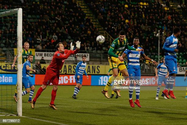 Bjorn Johnsen of ADO Den Haag scores the second goal to make it 2-0 during the Dutch Eredivisie match between ADO Den Haag v PEC Zwolle at the Cars...