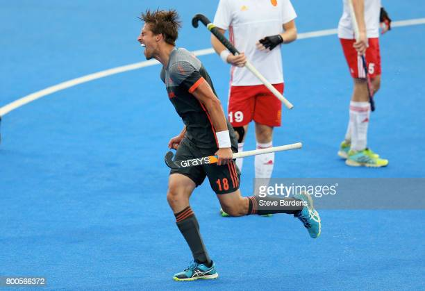 Bjorn Kellerman of the Netherlands celebrates scoring their teams second goal during the semifinal match between England and the Netherlands on day...