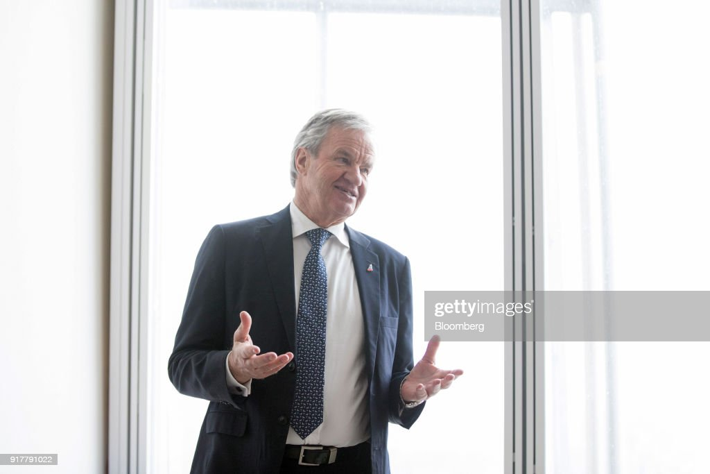 Bjorn Kjos, chief executive officer of Norwegian Air Shuttle AS, speaks during a news conference at The Shard in London, U.K., on Tuesday, Feb. 13, 2018. Norwegian are ready to fly from London Gatwick to Tokyo, Shanghai and Beijing if Russia grants rights to fly over Siberia, Kjossaid. Photographer: Chris Ratcliffe/Bloomberg via Getty Images