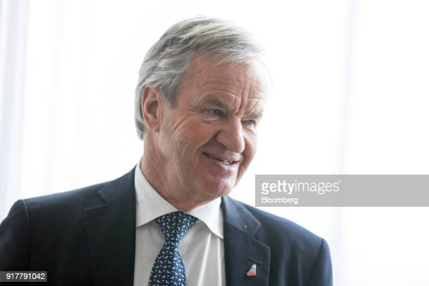 Bjorn Kjos chief executive officer of Norwegian Air Shuttle AS speaks during a news conference at The Shard in London UK on Tuesday Feb 13 2018...