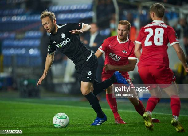 Bjorn Kopplin of Randers FC in action during the UEFA Conference League match between Randers FC and AZ Alkmaar at Cepheus Park on September 16, 2021...