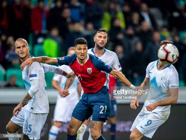 Bjorn Maars Johnsen of Norway Aljaz Struna Andraz Sporar of Slovenia during the UEFA Nations League C group three match between Slovenia and Norway...
