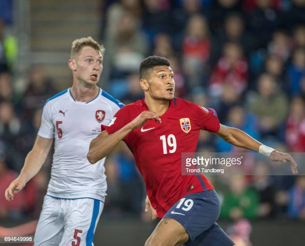 Bjorn Maars Johnsen of Norway Jakub Brabec of Czech during the FIFA 2018 World Cup Qualifier between Czech Republic v Norway at Ullevaal Stadion on...