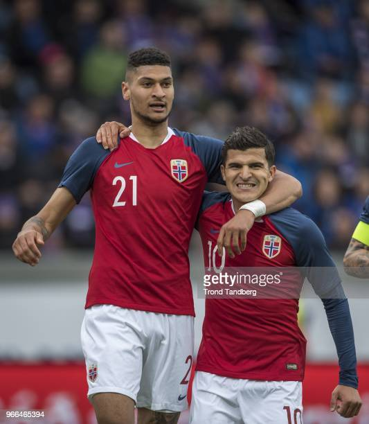 Bjorn Maars Johnsen Tarik Elyounoussi of Norway during International Friendly between Iceland v Norway at Laugardalsvollur National Stadium on June 2...