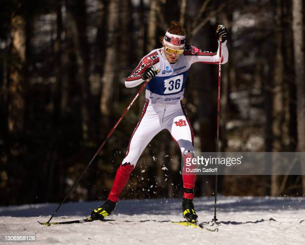 Bjorn Riksaasen of the University of Utah during the men's 20km freestyle at the NCAA Skiing Championships on March 13, 2021 in Jackson, New...