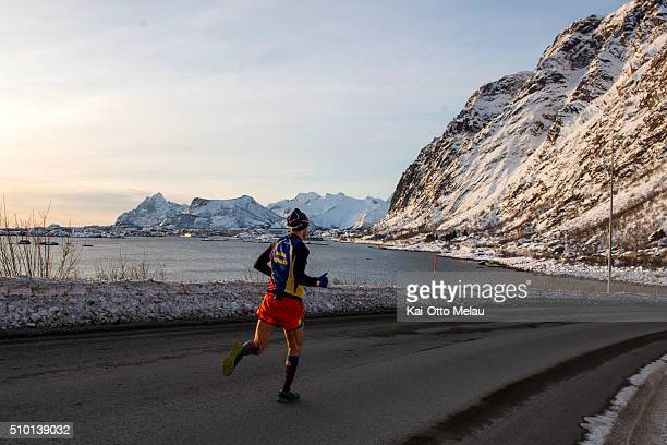 Bjorn Tore Kronen Tananger closing in on the finishline on February 13 2016 in Svolvar Norway The water temperature is around 4c and after the...