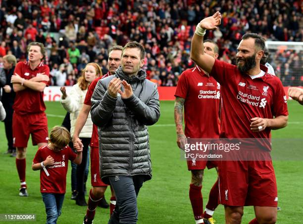 Bjorn Tore Kvarme of Liverpool FC Legends showing his appreciation to the fans at the end of the friendly match between Liverpool FC Legends and AC...