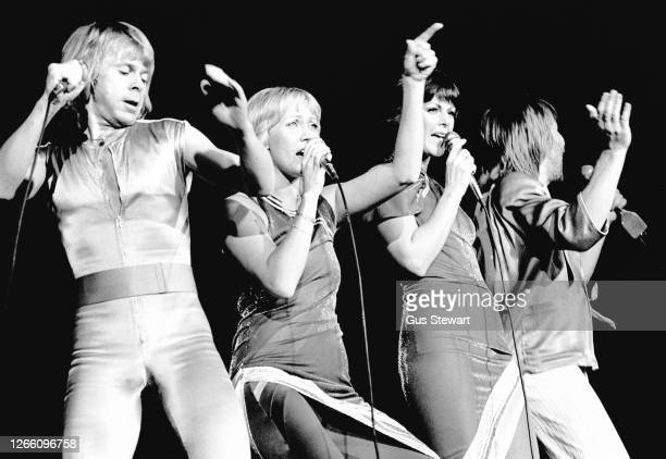 Bjorn Ulvaeus, Agnetha Faltskog, Anni-Frid Lyngstad and Benny Andersson of ABBA perform on stage at the Wembley Arena, London, England, on November...