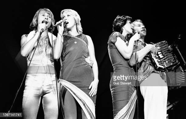 Bjorn Ulvaeus, Agnetha Faltskog, Anni-Frid Lyngstad and Benny Andersson of ABBA perform on stage at the Wembley Arena, London, England, on November5...