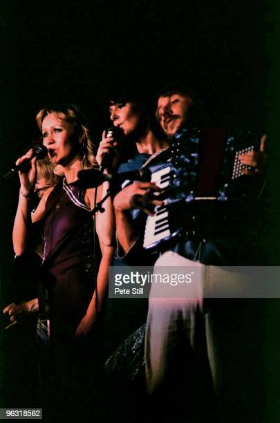 Bjorn Ulvaeus Agnetha Faltskog AnniFrid Lyngstad and Benny Andersson of ABBA perform on stage at Wembley Arena on November 8th 1979 in London United...
