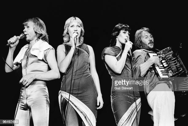 Bjorn Ulvaeus Agnetha Faltskog AnniFrid Lyngstad and Benny Andersson of Abba perform on stage at Wembley Arena on November 9th 1979 in London