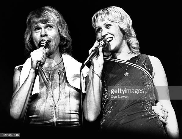 Bjorn Ulvaeus and Agnetha Faltskog of Abba perform on stage at Wembley Arena London 9th November 1979
