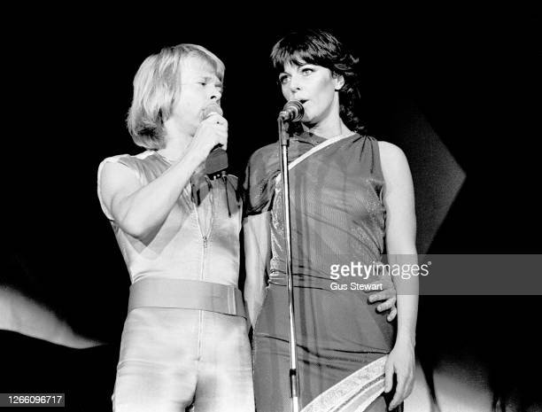 Bjorn Ulvaeus and Anni-Frid Lyngstad of ABBA perform on stage at the Wembley Arena, London, England, on November 5th, 1979.