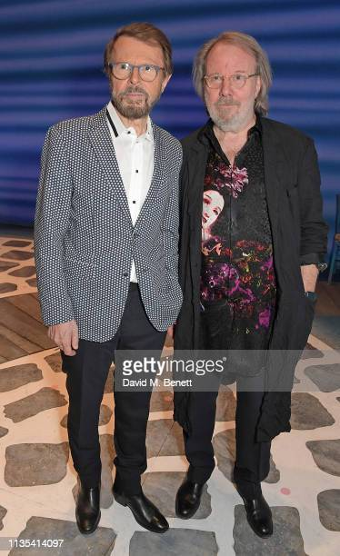 Bjorn Ulvaeus and Benny Andersson attend the 20th anniversary performance of Mamma Mia at the Novello Theatre on April 6 2019 in London England