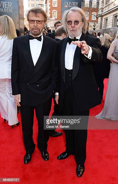 Bjorn Ulvaeus and Benny Andersson of ABBA attend the Laurence Olivier Awards at The Royal Opera House on April 13 2014 in London England