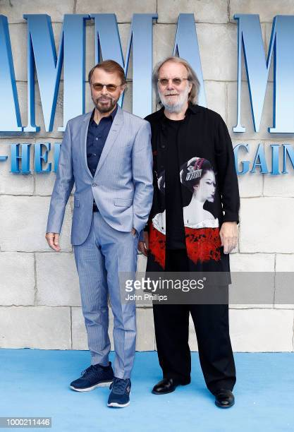 Bjorn Ulvaeus and Benny Andersson of Abba attend the UK Premiere of Mamma Mia Here We Go Again at Eventim Apollo on July 16 2018 in London England