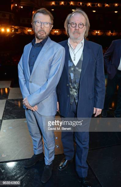 Bjorn Ulvaeus and Benny Andersson pose onstage during the press night performance of Chess at The London Coliseum on May 1 2018 in London England