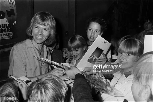 Bjorn Ulvaeus and fans of the ABBA in Paris France in 1979