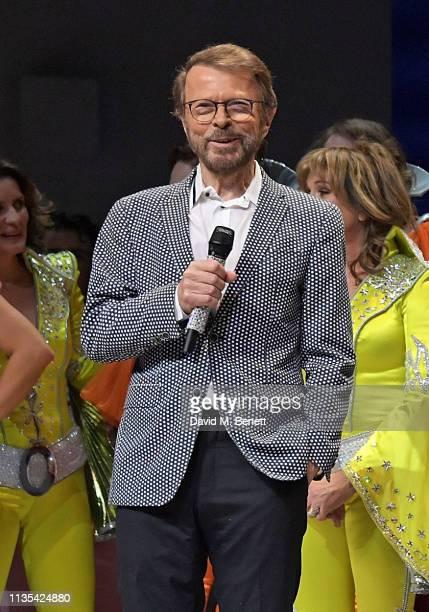 Bjorn Ulvaeus attend the 20th anniversary performance of Mamma Mia at the Novello Theatre on April 6 2019 in London England
