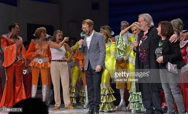 Bjorn Ulvaeus Benny Andersson and Catherine Johnson attend the 20th anniversary performance of Mamma Mia at the Novello Theatre on April 6 2019 in...