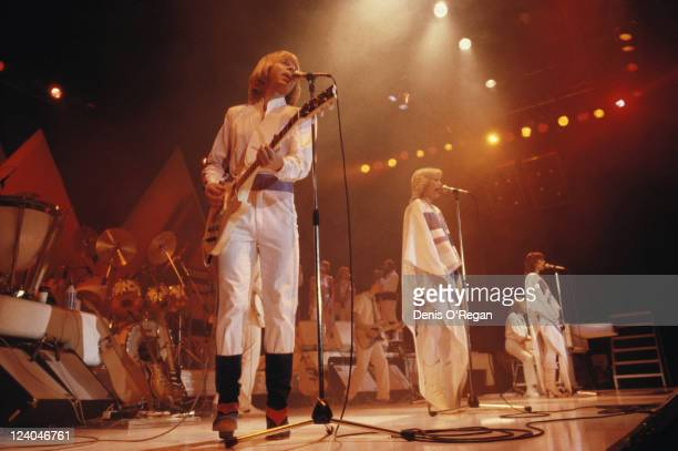 Bjorn Ulvaeus Benny Andersson AnniFrid Lyngstad and Agnetha Faltskog of Swedish pop group ABBA in concert 1979