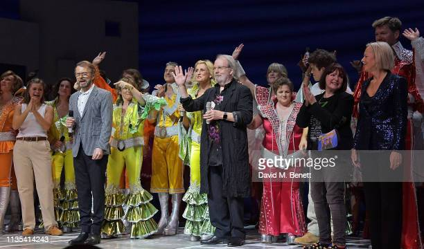 Bjorn Ulvaeus Benny Andersson Catherine Johnson and Phyllida Lloyd attend the 20th anniversary performance of Mamma Mia at the Novello Theatre on...