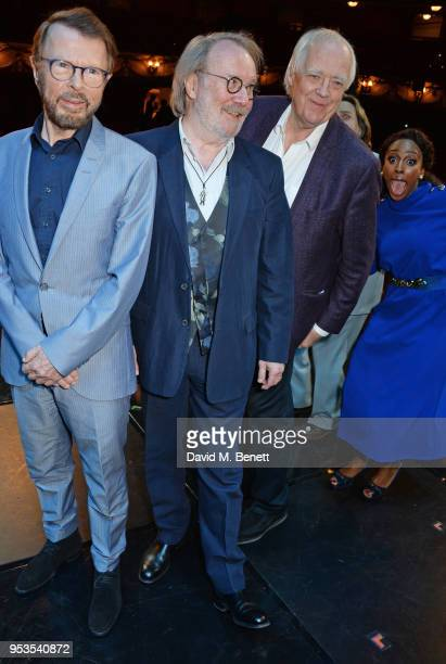 Bjorn Ulvaeus Benny Andersson Sir Tim Rice and Alexandra Burke pose onstage during the press night performance of 'Chess' at The London Coliseum on...