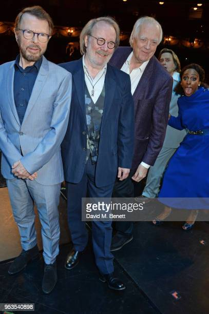 Bjorn Ulvaeus Benny Andersson Sir Tim Rice Tim Howar and Alexandra Burke pose onstage during the press night performance of 'Chess' at The London...